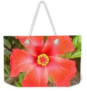 Head On Shot Of A Red Tropical Hibiscus Flower Weekender Tote Bag