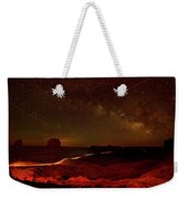Headlights And Buttes In Monument Weekender Tote Bag