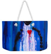Heart And Soul - Angel Art Blue Painting Weekender Tote Bag by Sharon Cummings
