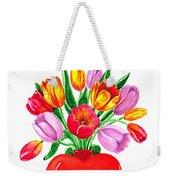 Heart Full Of Tulips Valentine Bouquet  Weekender Tote Bag