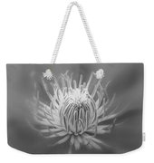 Heart Of A Red Clematis In Black And White Weekender Tote Bag