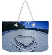 Heart Outlined On Snow On Topw Of Frozen Lake Weekender Tote Bag