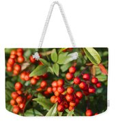 Heavenly Bamboo Red Berries Weekender Tote Bag