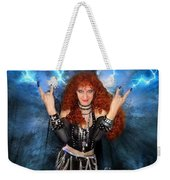 Heavy Metal Fashion. Sofia Metal Queen. Blue Fire Storm. The Power Weekender Tote Bag