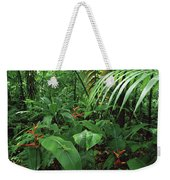 Heliconia And Palms With Green Anole Weekender Tote Bag