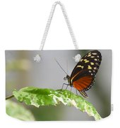 Heliconius Butterfly On Green Leaf Weekender Tote Bag