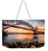 Hell Gate And Triboro Bridge At Sunset Weekender Tote Bag