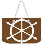 Helm In White And Brown Weekender Tote Bag