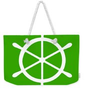 Helm In White And Green Weekender Tote Bag