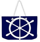 Helm In White And Navy Blue Weekender Tote Bag