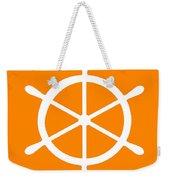 Helm In White And Orange Weekender Tote Bag