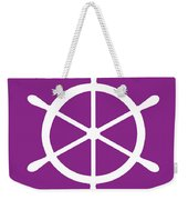 Helm In White And Purple Weekender Tote Bag