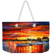 Helsinki Sailboats At Yacht Club Weekender Tote Bag by Leonid Afremov