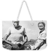 Hemingway, Wife And Pets Weekender Tote Bag by Underwood Archives