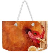 Hen With Chick On Wood Weekender Tote Bag