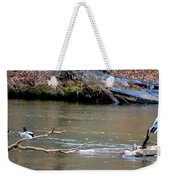 Heron With Ducks Weekender Tote Bag