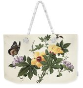 Hibiscus And Butterfly Weekender Tote Bag