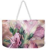 Hibiscus Sky - Pastel Pink Tones Weekender Tote Bag