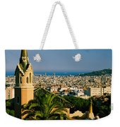 High Angle View Of A City, Barcelona Weekender Tote Bag