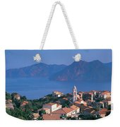 High Angle View Of A Town At The Coast Weekender Tote Bag