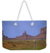 Highway 163 Leading Into Monument Valley With Rock Formations In Weekender Tote Bag