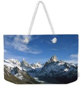 Hiker Admiring Cerro Torre And Fitzroy Weekender Tote Bag