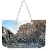 Hiker In Big Painted Canyons Trail In Mecca Hills-ca Weekender Tote Bag