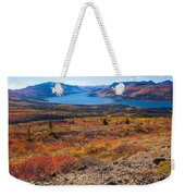 Hiker In Fall-colored Tundra Weekender Tote Bag