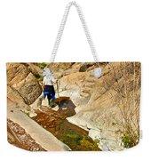Hiker On Window Trail In Chisos Basin In Big Bend National Park-texas   Weekender Tote Bag