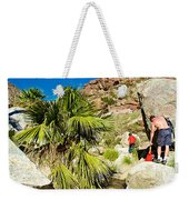 Hikers At Oasis On Borrego Palm Canyon Trail In Anza-borrego Desert Sp-ca  Weekender Tote Bag