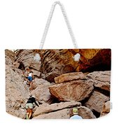 Hikers Enter Ladder Canyon From Big Painted Canyons Trail In Mecca Hills-ca  Weekender Tote Bag