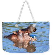 Hippo With Open Mouth In River. Serengeti. Tanzania Weekender Tote Bag