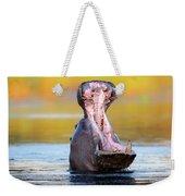 Hippopotamus Displaying Aggressive Behavior Weekender Tote Bag