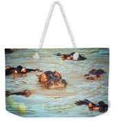 Hippopotamus Group In River. Serengeti. Tanzania Weekender Tote Bag