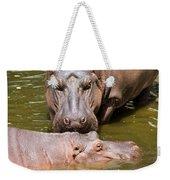Hippopotamus In Water Weekender Tote Bag