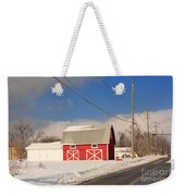 Historic Red Barn On A Snowy Winter Day Weekender Tote Bag