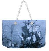 Historic Seaport Blue Schooner Weekender Tote Bag