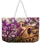 Historic Sierra Madre Congregational Church Among The Purple Jacaranda Trees  Weekender Tote Bag