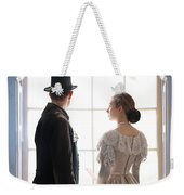 Historical Couple Standing In An Arched Window Weekender Tote Bag