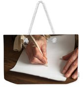 Historical Senior Man Writing With A Quill Pen Weekender Tote Bag