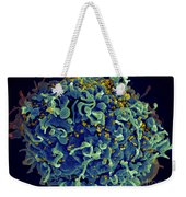 Hiv T Cell Under Attack Sem Weekender Tote Bag by Science Source