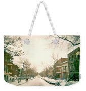 Hiver Psc Winter In The Point Snowy Day Paintings Montreal Art Cityscenes Brick Houses Snowed In Weekender Tote Bag