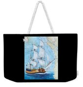 Hms Endeavour Tall Sailing Ship Chart Map Art Peek Weekender Tote Bag