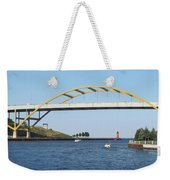 Hoan Bridge Boats Light House 1 Weekender Tote Bag