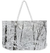 Hoar Frost Covered Trees In Forest Weekender Tote Bag