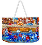 Hockey Art Collectible Cards And Prints Snowy Day  Neighborhood Rinks Verdun Montreal Art C Spandau Weekender Tote Bag