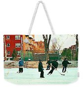Hockey Art Shimmy Game Local Rink Montreal Paintings Winter Street Scene Verdun Art Carole Spandau Weekender Tote Bag