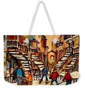 Hockey Game Near Winding Staircases Montreal Streetscene Weekender Tote Bag
