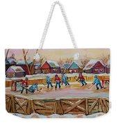 Hockey Game-outdoor Hockey -beautiful Canadian Winter Landscape-hockey Heroes-carole Spandau Weekender Tote Bag
