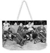 Hockey Goalie Chin Stops Puck Weekender Tote Bag